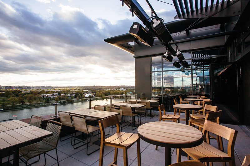 12 Stories rooftop bar at the InterContinental Hotel at The Wharf - The best waterfront rooftop bars in Washington, DC