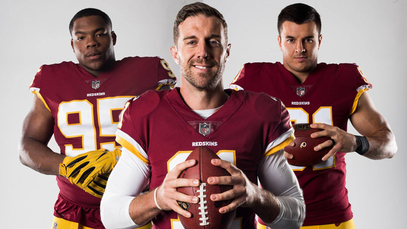 Alex Smith, Ryan Kerrigan and Da'Ron Payne of the Washington Redskins - NFL Football in Washington, DC
