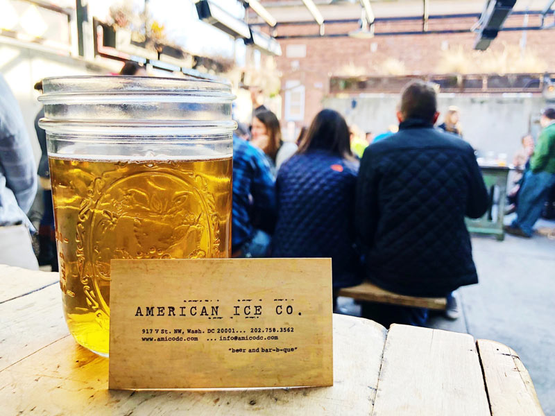@americaniceco - Outdoor dining at American Ice Co. - Industrial restaurant serving beer and barbecue in Washington, DC
