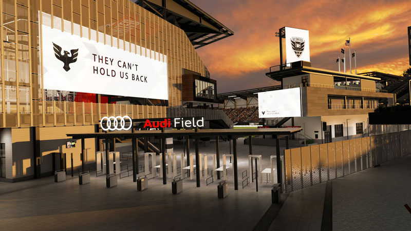 Entrance to D.C. United's new soccer stadium Audi Field - Sports and events venue in Washington, DC