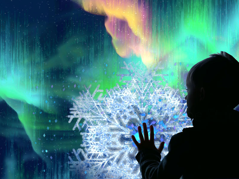 The Spirit of Northern Lights - winter and holiday exhibit at Artechouse in Washington, DC