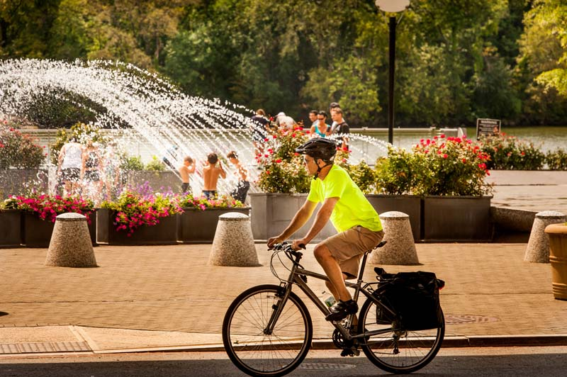 Biking along Georgetown Waterfront Park - The best outdoor things to do in Washington, DC's Georgetown neighborhood