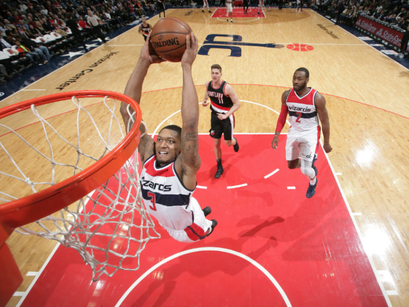 Bradley Beal Dunking at Capital One Arena - Washington Wizards Basketball in Washington, DC