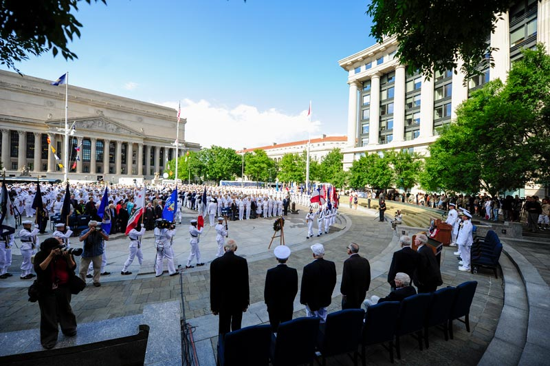Ceremony honoring veterans at the United States Navy Memorial in Washington, DC
