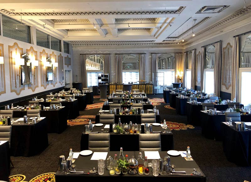 Meeting room setup for the Kimpton Hotel Monaco Washington DC cocktail class - Unique meeting break options in Washington, DC