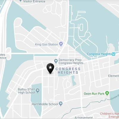 Map of Congress Heights neighborhood in Washington, DC