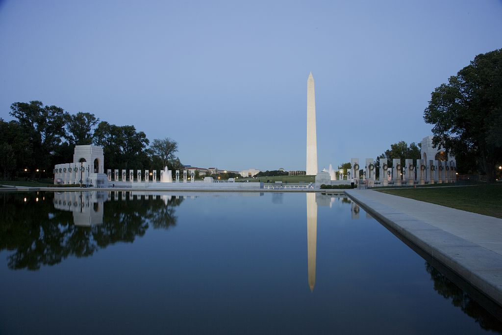 World War II Memorial and Washington Monument from the Lincoln Memorial Reflecting Pool - National Mall in Washington, DC