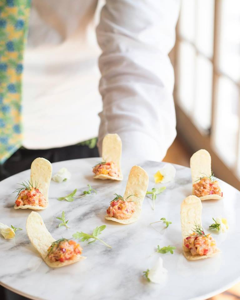Lobster and corn wonton crisps from Ridgewells Catering - Environmentally-friendly catering in the Washington, DC area
