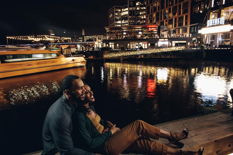 Couple at The Wharf on the Southwest Waterfront - Romantic date spots, places to eat and more in Washington, DC