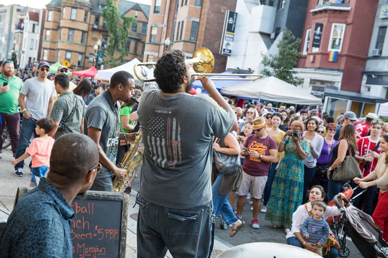 Band performing during Adams Morgan Day on 18th Street - Free summer festival in Washington, DC