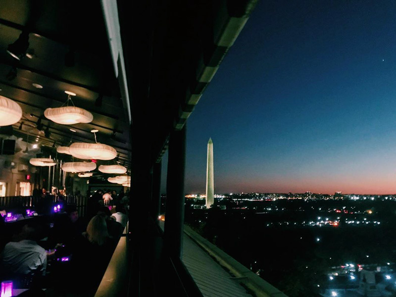 @curated_creations - POV Rooftop at sunset with view of Washington Monument