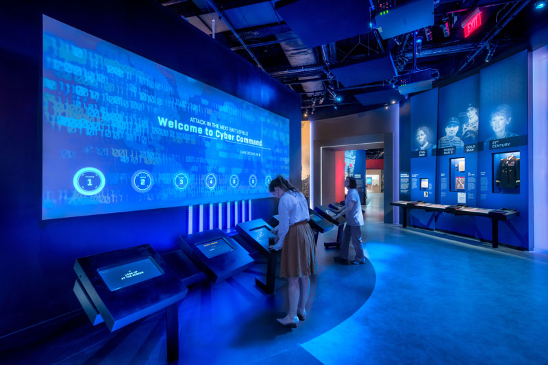 Visitors interacting with exhibit at the International Spy Museum in L'Enfant Plaza in Washington, DC