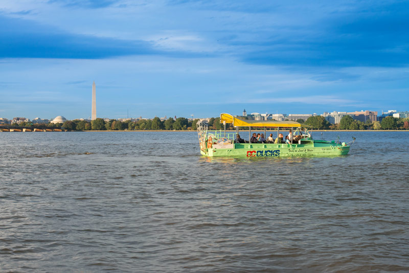DC Ducks water tours - Duck tour boat on the Potomac River in Washington, DC