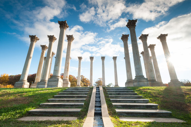 Fall foliage surrounding Capitol Columns at the U.S. National Arboretum - Free outdoor activities in Washington, DC