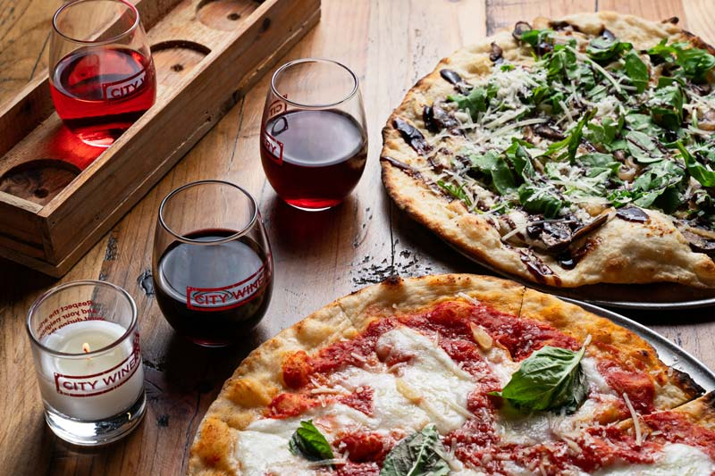Pizzas and wine from City Winery in Ivy City - Urban winery, restaurant and event space in Washington, DC
