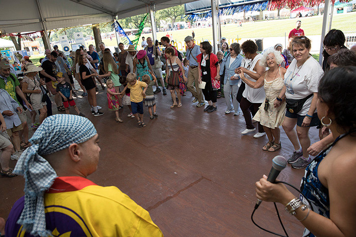 Families dancing at the Smithsonian Folklife Festival - Family friendly summer festival in Washington, DC