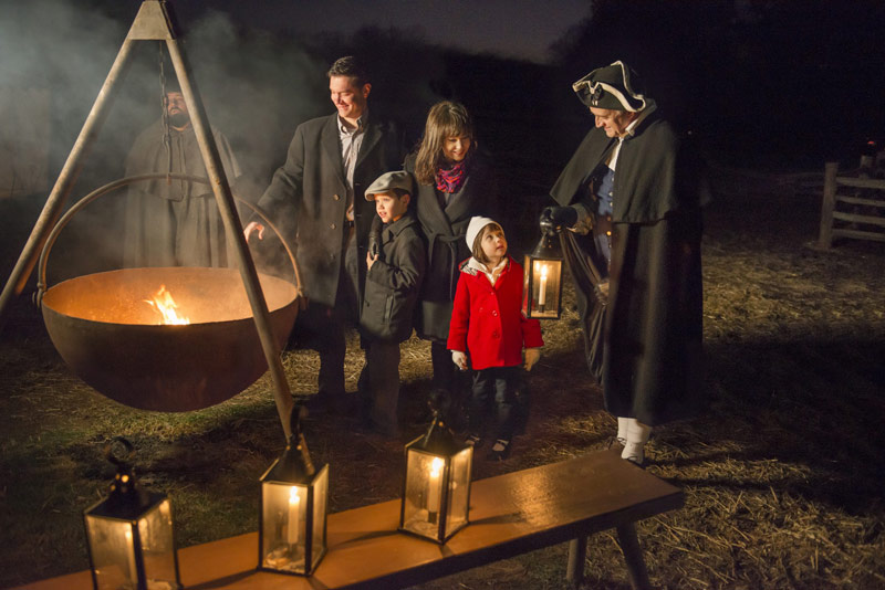 Family at George Washington's Mount Vernon by Candlelight - Winter family friendly holiday event near Washington, DC
