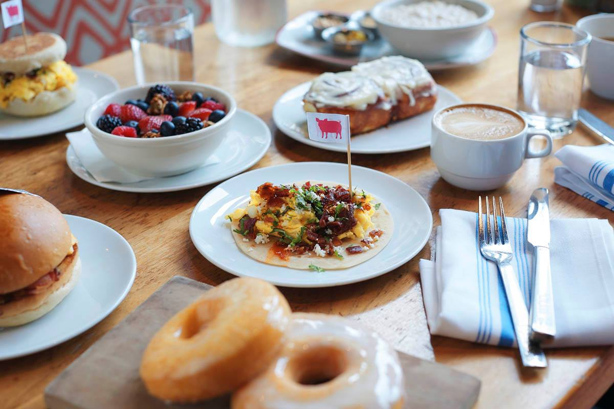 First Bake breakfast spread at Farmers Fishers Bakers in Georgetown - Farm-to-table restaurants in Washington, DC