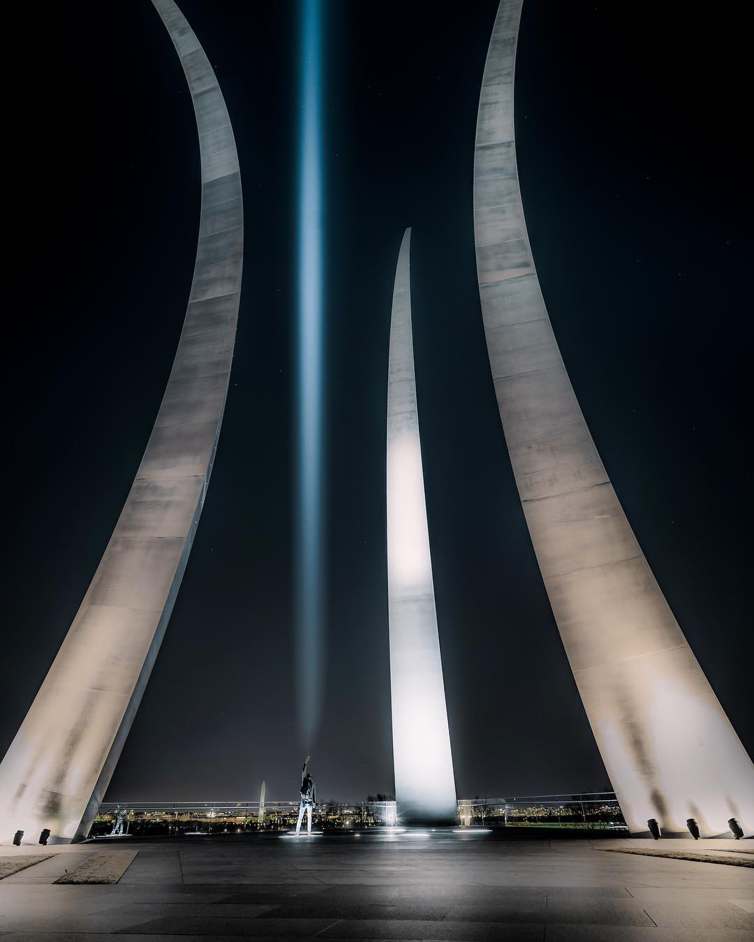@floodthesensor - United States Air Force Memorial at night - Military memorial in Virginia near Washington, DC