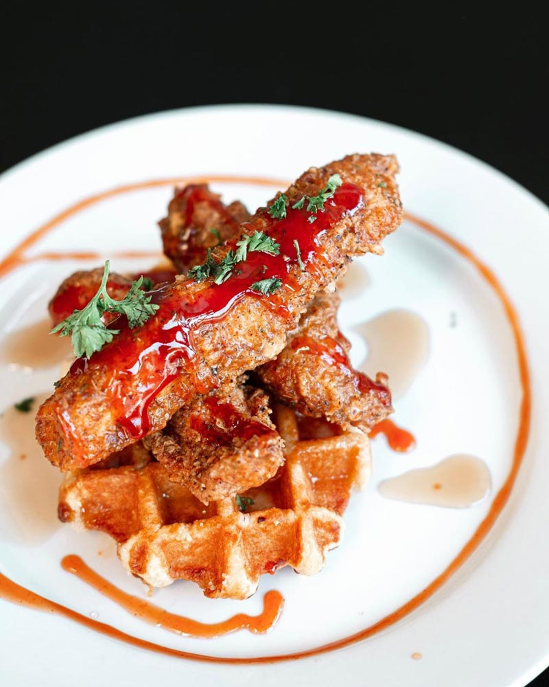 @foodtographii - Fried chicken and waffles from The Caged Bird - Great spot for soul food and weekend brunch in DC