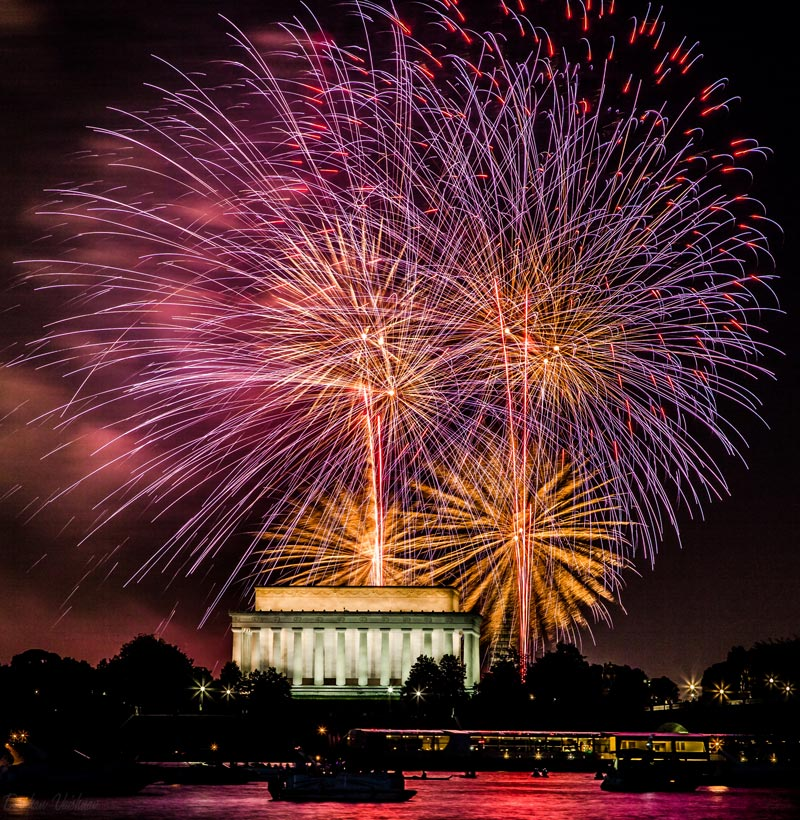 Fourth of July Fireworks over Lincoln Memorial - Washington, DC