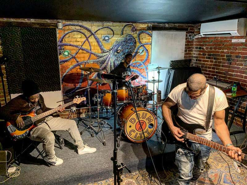 @grandfinaleupfront - Band playing at 7DrumCity in Washington, DC's Bloomingdale neighborhood