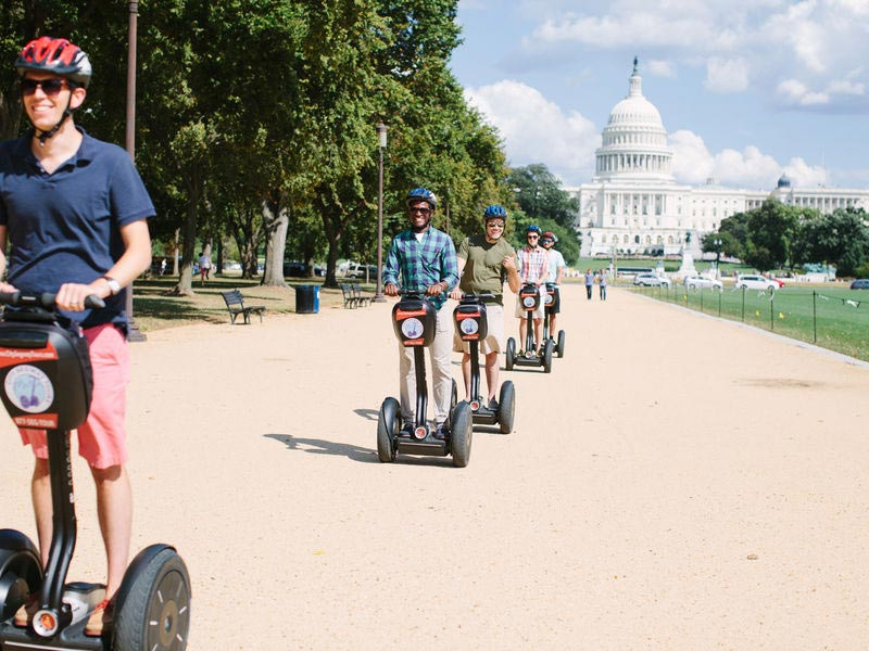 Group riding Segways on City Segway Tours Washington, DC - Eco-friendly tours in DC