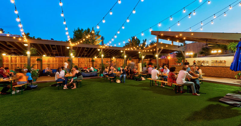 Guests drinking at Hook Hall in Park View - Beer garden, bar and event space in Washington, DC