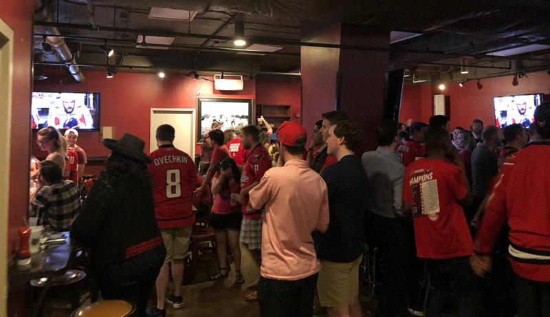 Watching Washington Capitals hockey at Mackey's Public House - Sports dive bar in downtown DC