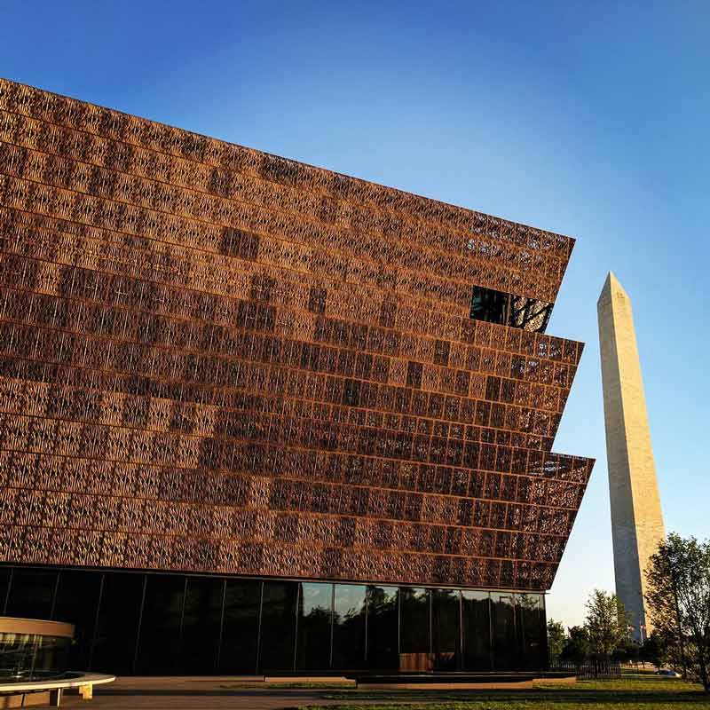 @jessipatel - View of the Smithsonian National Museum of African American History and Culture and the Washington Monument in Washington, DC
