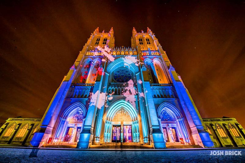 @joshbrickgraphics - Projection art on exterior of Washington National Cathedral in Washington, DC