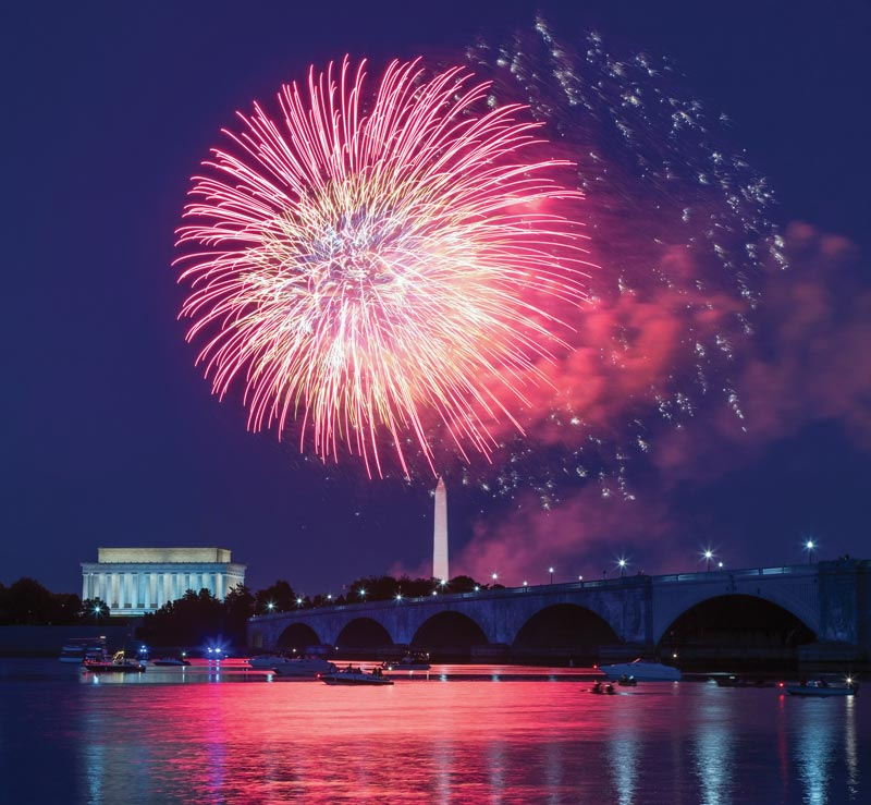 The best boating and on the water experiences in and around Washington, DC - Fourth of July fireworks over the Potomac River and National Mall
