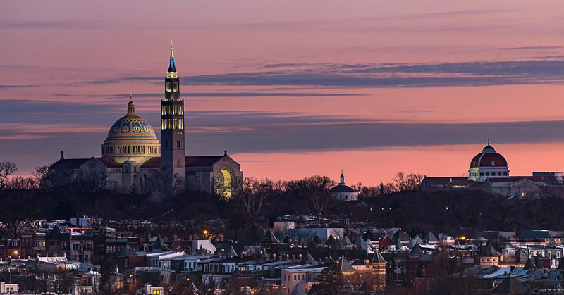 @karnold_photo - Dawn view of the Basilica of the National Shrine of the Immaculate Conception in Brookland  - Largest Roman Catholic Church in North America