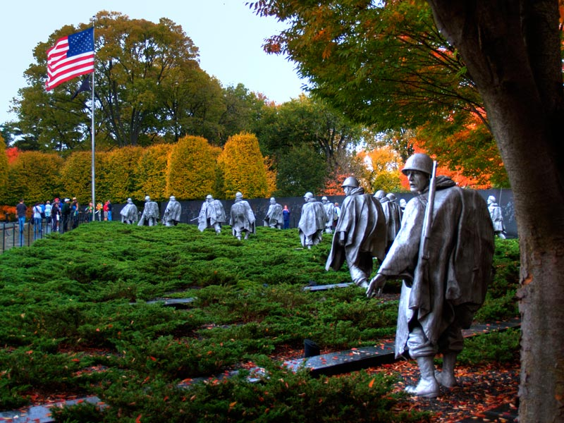 Korean War Veterans Memorial on the National Mall during the fall - Memorials in Washington, DC