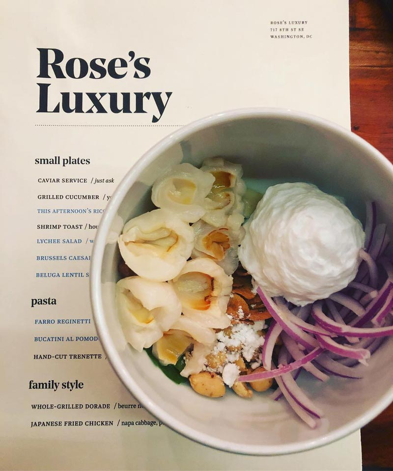 @kristynfd - Menu and lychee salad from Rose's Luxury - Best restaurants in Washington, DC