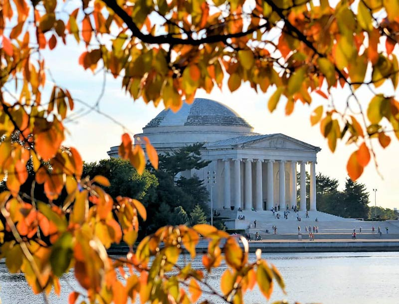 @la_hoverman_dc - Fall foliage on the National Mall's Tidal Basin - Free outdoor fall activities in Washington, DC