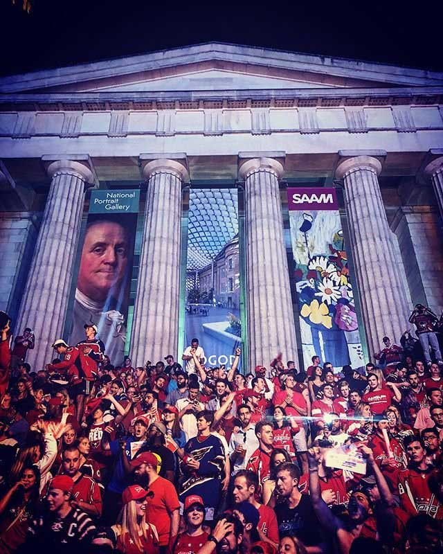 @lauragood - Washington Capitals fans celebrating on museum steps - Sports in Washington, DC