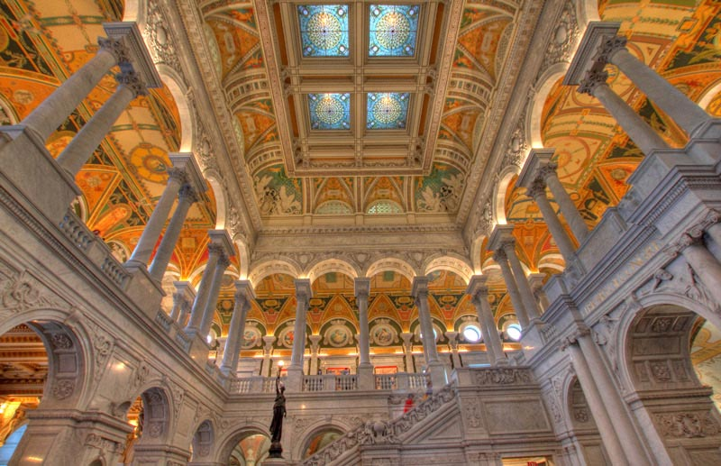 Library of Congress Thomas Jefferson Building Great Hall - Largest Library in the World in Washington, DC