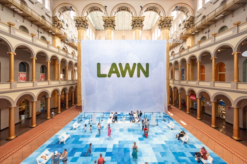 Main entrance to 'Lawn' summer museum exhibit in DC - The National Building Museum's Summer Block Party exhibit
