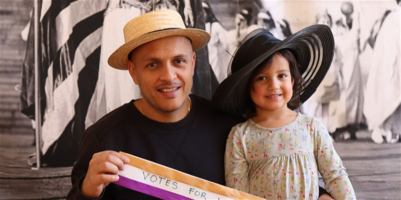 Father and daughter at the DAR Museum Women's History Month celebration