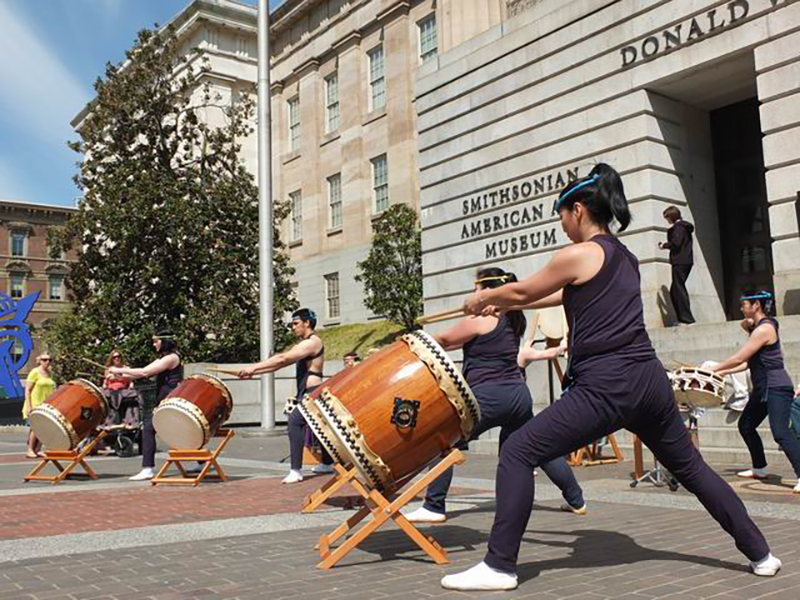 A taiko drumming performance during the Cherry Blossom Festival