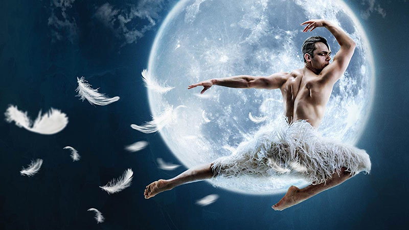 Swan Lake Man Ballet dancer in front of moon