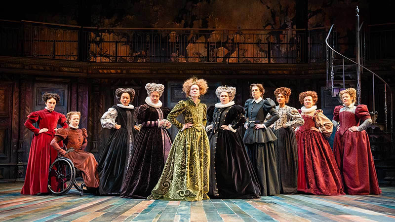 The Taming of the Shrew women cast on the stage standing next to each other