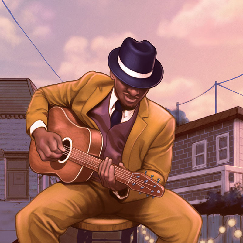 August Wilson's 'Seven Guitars' Man Playing Guitar