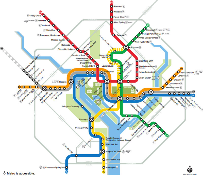 Washington, DC Metro Subway System Map