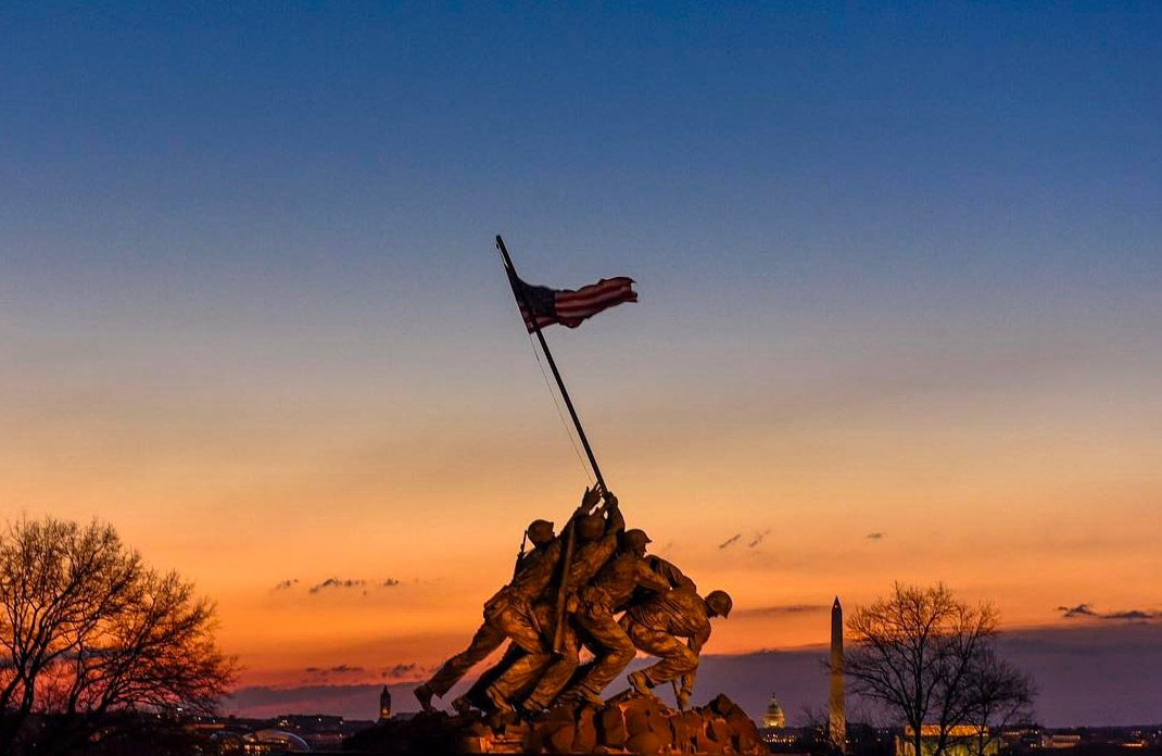 @mojabbs - Early spring sunrise at the Marine Corps War Memorial in Virginia