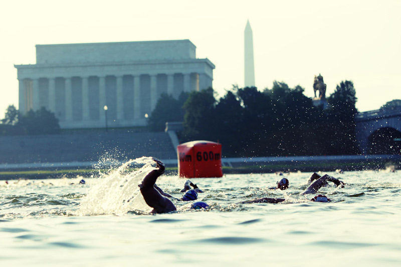 Nation's Triathlon - Swimming in Potomac River by Lincoln Memorial - Washington, DC