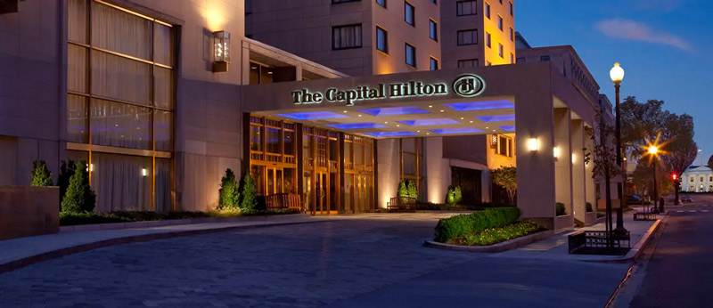 Nighttime at the Capital Hilton in Downtown DC - Historic hotels in Washington, DC