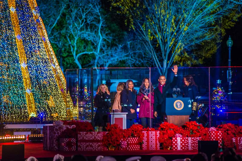 Obama Family at National Christmas Tree Lighting - Presidential First Family Holiday Traditions