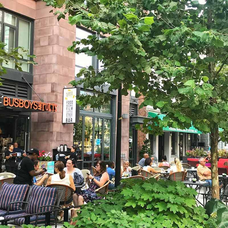 Outdoor patio at the Mount Vernon Square Busboys and Poets - Things to do in DC's Mount Vernon Square neighborhood